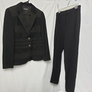 Escada classic black pant suit satin stripe detail